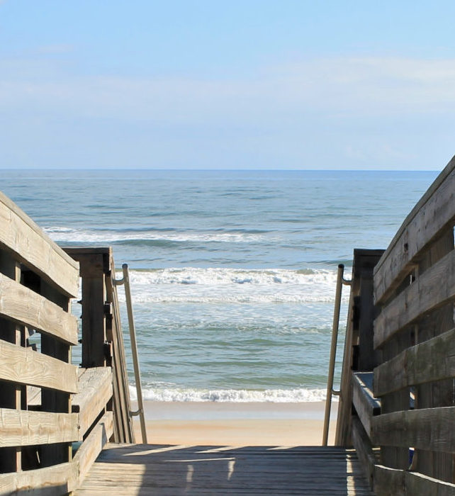 Boardwalk and stairway to beach, Ormond Beach, Florida